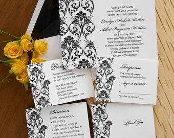Lavish Border Invitation Set - Raised Thermography Wedding Invite - Formal Wedding Invitation Suite - Custom Wedding Invitation - AV1855