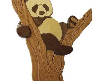Hardwood Intarsia Panda
