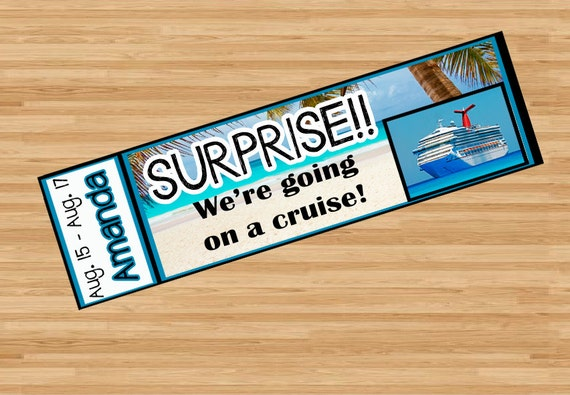 Printable Surprise Cruise Ticket with Custom Name Dates