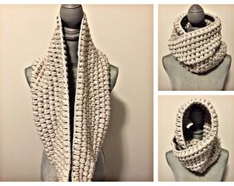 handcrafted crochet jumbo infinity scarf