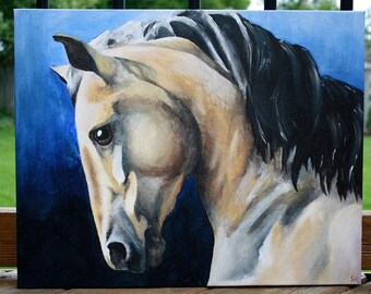 Buckskin - horse art- horse painting