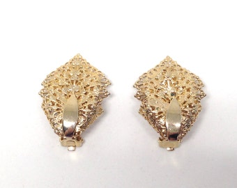 Sarah Coventry Signed Vintage Estate Gold Tone Clip Earrings Christmas Present - Holiday Gift