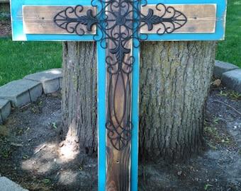 Blue Rustic Cross