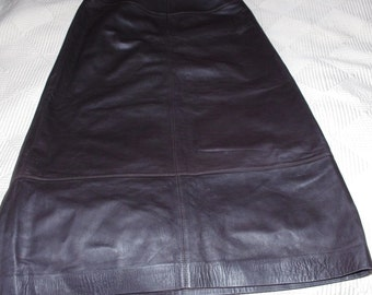 ITALIAN Super Soft Leather Eggplant Brown Long Skirt Size:10 (tags removed)