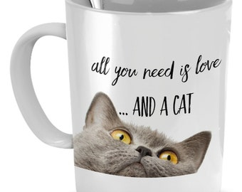 All You Need is Love... and a Cat Mug - Grey Cat