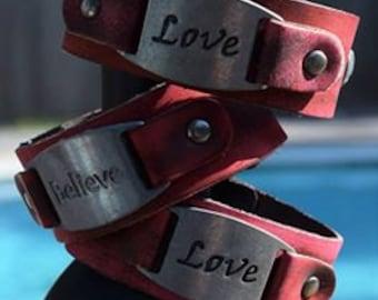 If You Believe Cuff, Boho Cuff, Bohemian Leather Cuff Bracelet
