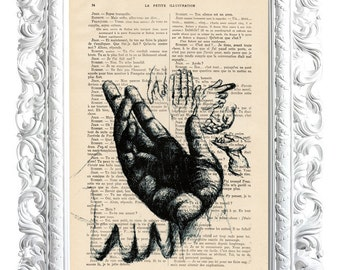 Black hand. Print on French publication of illustration. 28x19cm.