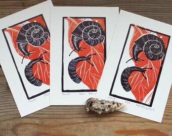 Snails~Linocut,Linoprint,Print,Snails print,Letterpress,Card,Printmaking,Red,Nature