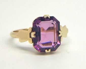 Victorian Emerald Cut Amethyst Ring   Size J (UK) 5 1/4 (US)   Free Sizing / Shipping
