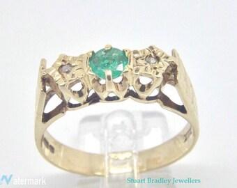 Vintage Emerald / Diamond Ring   Size O 1/2 (UK) 7 1/2 (US)   Free Sizing & Shipping