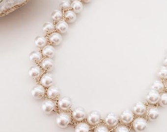 Beads pearl necklace,wedding,bridal,