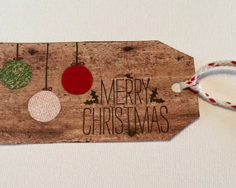 Merry Christmas Ornament Gift Tag