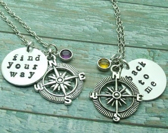Find Your Way Back To Me Compass Birthstone Necklaces, Mother Daughter Necklaces, Distance Necklaces, Friendship, Sisters, Set of Two, Gift