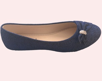 Glitter Blue Bridal / Bridesmaid / Dress Ballet Flats Wedding Shoes - Size 7.5