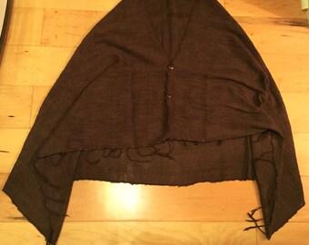 handwoven brown cotton shawl