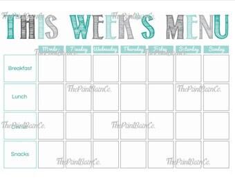 Weekly Meal Menu Planner *DIGITAL DOWNLOAD* Grey and Aqua (Includes: Breakfast, Lunch, Dinner and Snacks)