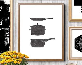 Kitchen art decor, kitchen art housewares, kitchen prints, kitchen decor, pots and pans, vintage letterpress style print