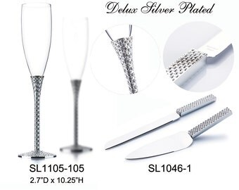 Wedding Toasting Flutes Champagne Knife and Wedding Cake Server Set Silver Plated Personalized Engraved