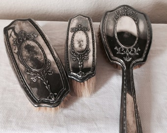 Set of Three Vintage Art Nouveau, Edwardian Silver Vanity Brushes-c1900