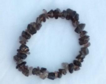 """7"""" Genuine Gemstone Bracelet - Smokey Quartz, Amethyst"""