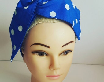 Electric Blue Polka Pin Up Hair Tie