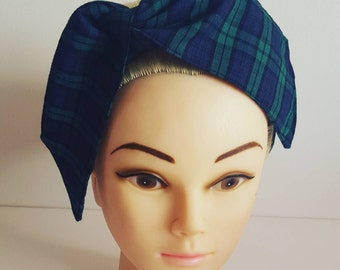 Green Tartan Pin Up Hair Tie