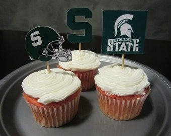 Cupcake toppers, party supplies, Michigan State Spartans, football
