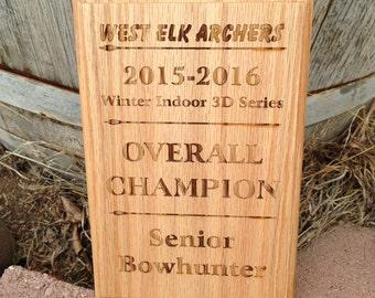 "Custom engraved 8"" x 5.5"" oak plaque, Award Plaque"