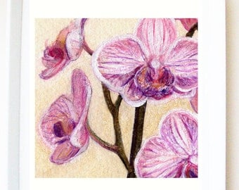 Art PRINT of original orchid illustration, titled 'Orchid heads', purple, pink, floral print, flower illustration, painting,nature,