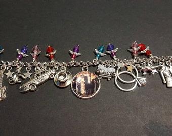 Friends themed stainless steel charm bracelet