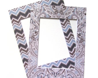 """12""""x16"""" Chevron and Brown Damask Picture Frame Matting Set of 2 Home Collection"""