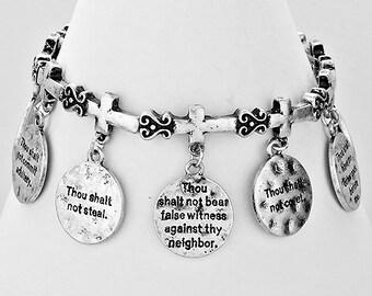 10 Commandments Charm Stretch Bracelet