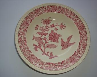 Vintage W.T. Copeland Stoke on Trent Pink Transferware Porcelain Rimmed Serving Bowl
