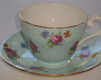 Aynsley Gold and Mini Florals Tea Cup and Saucer ~ Pattern 7804
