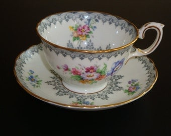 Crown Staffordshire LYNTON Tea Cup and Saucer