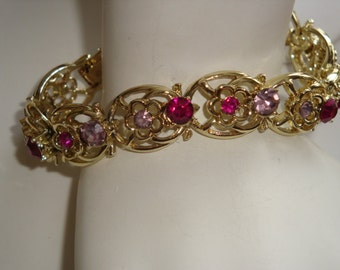 Coro Signed Pink & Purple Rhinestone Flower Bracelet