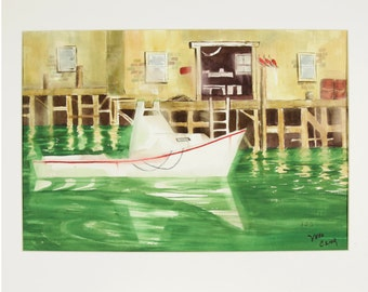 ORIGINAL painting, watercolor, signed, fishing boat, dock, pier, water, gift art, 18x24/mounted 22x28