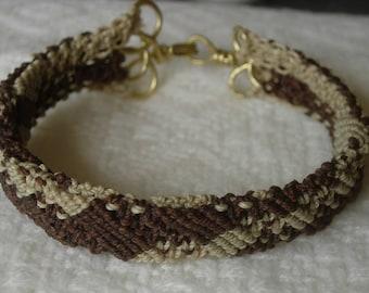 """3D Micro Macrame Bracelet, """"Shifty"""" Brown & Tan Waxed Nylon"""