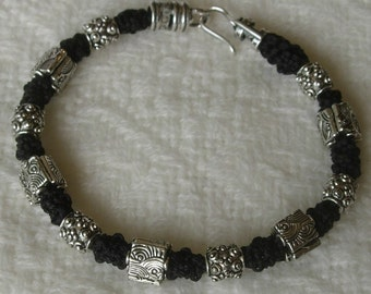 "3D Micro Macramé Bracelet, ""Try Hard"" Black with Pewter beads"