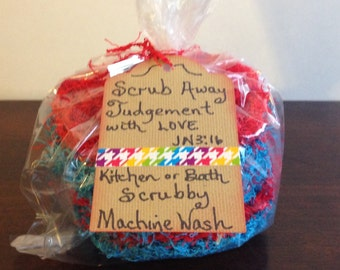 1 dozen package of Handmade Kitchen or Bath Scrubbies