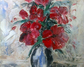 "oil painting ""Red flowers"""