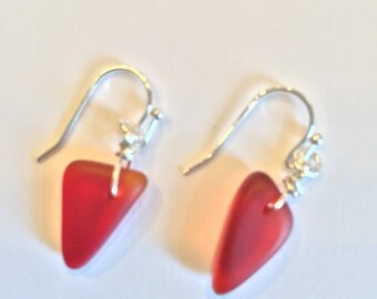Red Sea Glass Earrings
