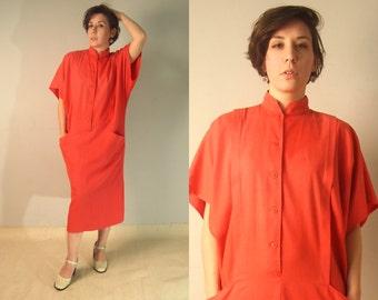 Flapper Style Dress/Vintage 80s Red Dress/Long Elegant  Dress with Front Pocket/Drop Waist
