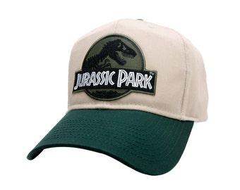 Jurassic Park Movie Forest Green Logo Patch Khaki Green Snapback Cap Hat
