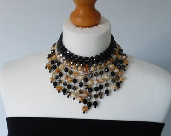 Vintage Black/Brown Beaded Necklace