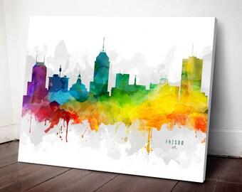 Fresno Skyline Canvas, Fresno Print, Fresno Art, Fresno Gift, Fresno Cityscape, MMR-USCAFR05C