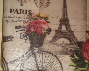 Decoupaged Tile Coaster with Eiffel Tower & Bicycle design