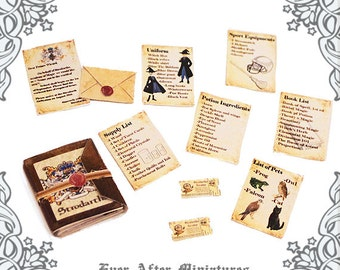 WIZARD SCHOOL Miniature Acceptance Letter & Supply List Kit –1:12 Strodarths Magic School Wizard Letter Witch Dollhouse Printable DOWNLOAD