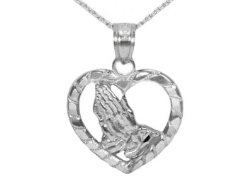 10k White Gold Prayer Necklace