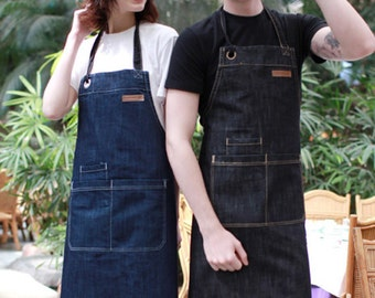 CHEF BBQ Blue Denim Apron| BBQ Apron| Barista Apron| Kitchen Apron | Apron for Men| Apron for Women| Jeans Apron For Cafe- U3009
